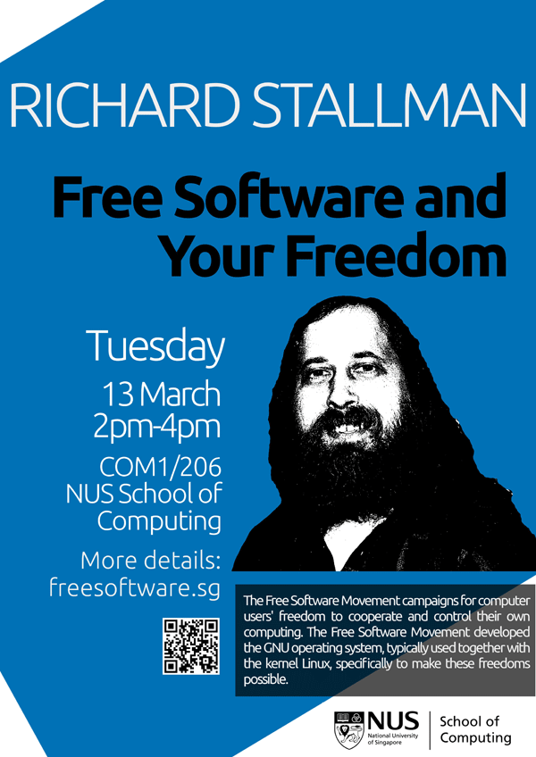 Richard Stallman in Singapore Blue Poster