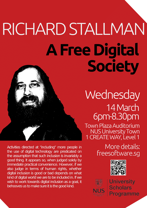 Richard Stallman in Singapore Red Poster